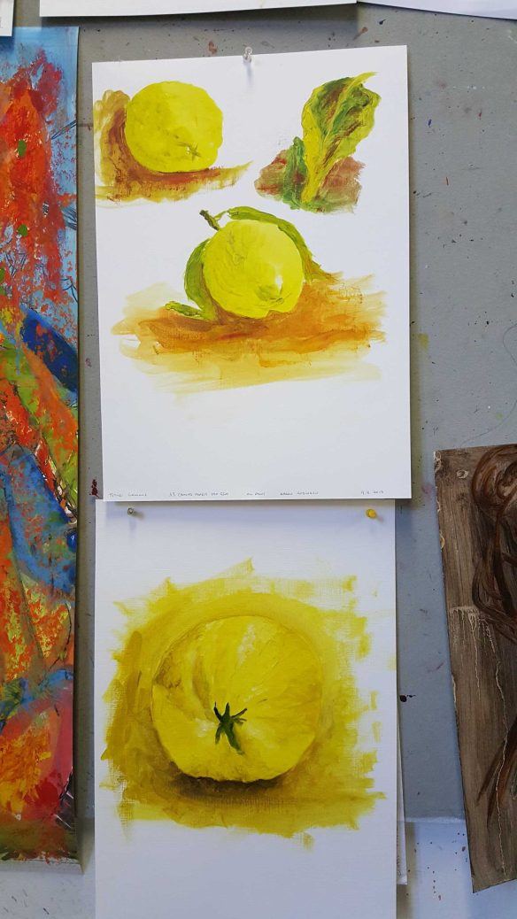 No. 6-7 Fourth 'Produce Paintings' CAE Class - Certificate 111 in Visual Arts - Photograph taken by Karen Robinson NB All images are protected by copyright laws
