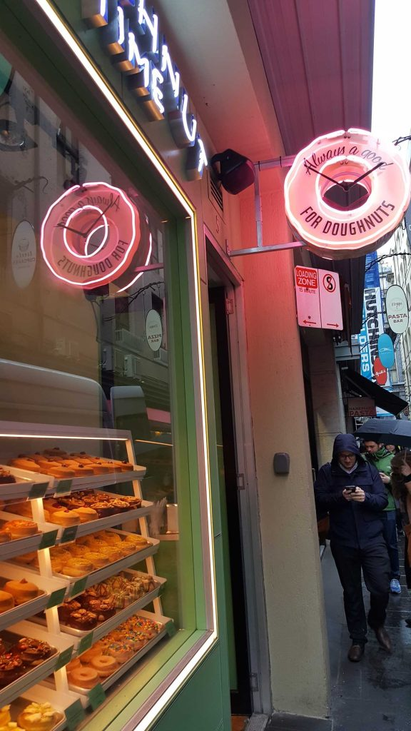 1-8 'Doughnut Time' Shop on Degraves Street, Melbourne, Australia. Photograph taken by Karen Robinson September 2016 NB All images are protected by copyright laws