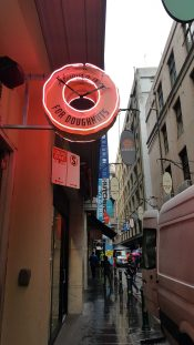 4-8 'Doughnut Time' Shop on Degraves Street, Melbourne, Australia. Photograph taken by Karen Robinson September 2016 NB All images are protected by copyright laws