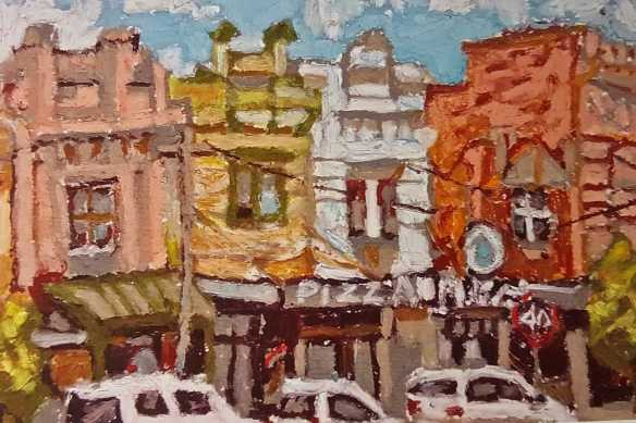 4 of 4 Post Card of 'High Street, Northcote in March 2016' Oil Pastels by Artist Tyler Arnold' used as a source of creative writing inspiration during Creative Writing Session One