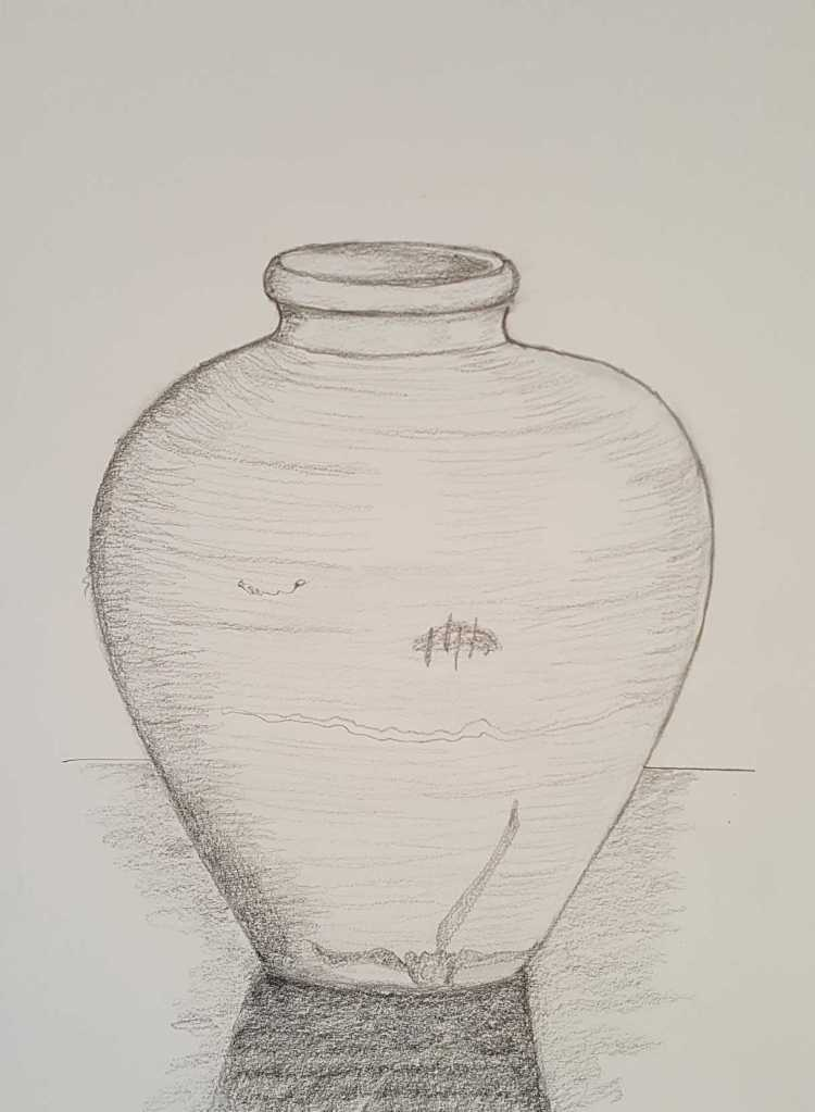 9-10 Class 7 'Produce Drawings' CAE Class - Certificate 111 in Visual Arts - Vase Drawing for Portfolio Photograph by Karen Robinson Sept 2016 NB images by copyright laws