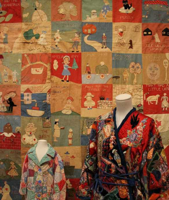 1 0f 1 'The Nursery rhyme quilt' exhibited at the 'Making the Australian Quilt - 1800-1950' Exhibition NGV Australia. Photographed by Karen Robinson. NB Images copyright protected