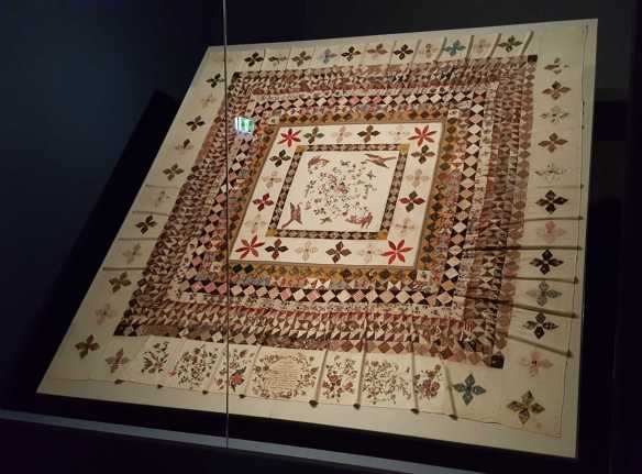 1 0f 3 'The Rajah quilt made by unknown convict women' exhibited at the 'Making the Australian Quilt - 1800-1950' Exhibition NGV Australia. Photographed by Karen Robinson. NB Images copyright protected