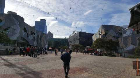 1 Federation Square Melbourne Australia - Ian Poter Centre - NGV Australia in the background photographed by Karen Robinson August 2016 NB All images are protected by copyright laws