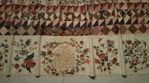2 0f 3 'The Rajah quilt made by unknown convict women' exhibited at the 'Making the Australian Quilt - 1800-1950' Exhibition NGV Australia. Photographed by Karen Robinson. NB Images copyright protected