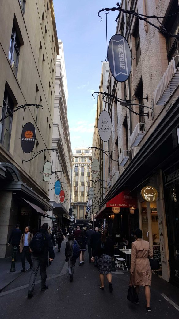 2 of 8 Looking up Degraves Street towards Flinders Lane, Melbourne, Australia - Photograph taken by Karen Robinson Oct 2016 NB All images are protected by copyright