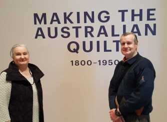 3 Karen and Mark Robinson at 'Making the Australian Quilt' at the Ian Poter Centre - NGV Australia - August 2016 NB All images are protected by copyright laws