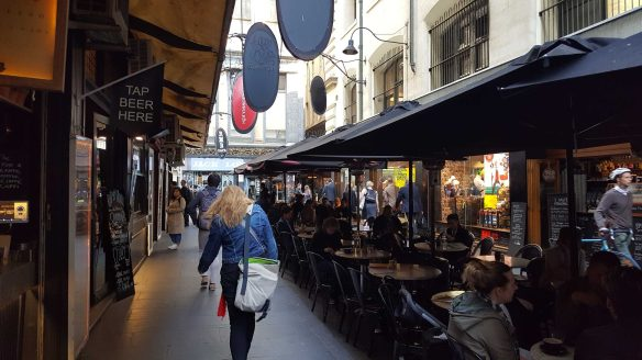 3 of 8 Degraves Street amongst the cafes early morning, Melbourne, Australia - Photograph taken by Karen Robinson Oct 2016 NB All images are protected by copyright