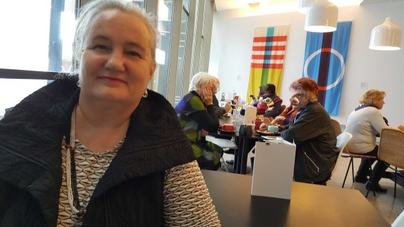 30 Karen Robinson having coffee at the 'Making the Australian Quilt' Exhibition at the Ian Potter Centre - NGV Australia - August 2016 NB All images are protected by copyright laws