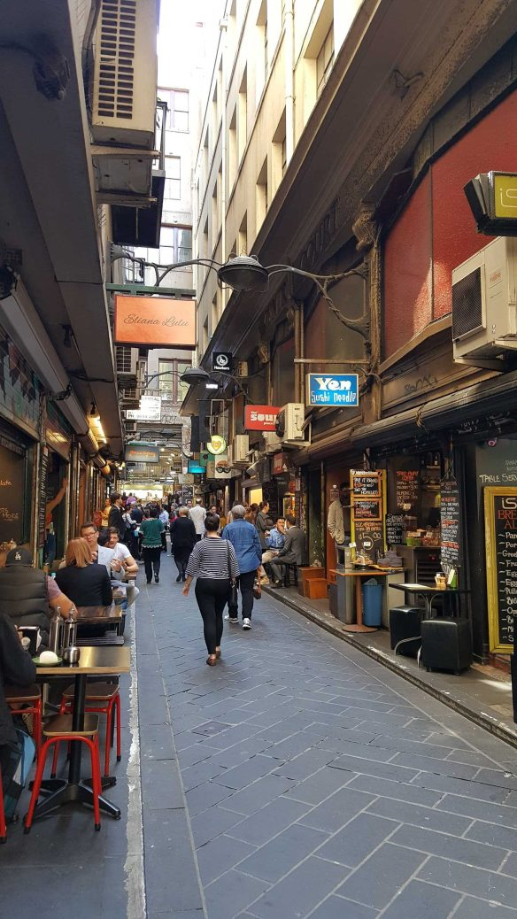 6 of 8 Looking up Centre Places from Flinders Lane, Melbourne, Australia - Photograph taken by Karen Robinson Oct 2016 NB All images are protected by copyright