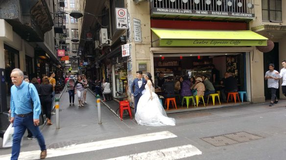 8 of 8 Bride and Bridegroom on corner of Centre Places and Flinders Lane,, Australia - Photograph taken by Karen Robinson Oct 2016 NB All images are protected by copyright