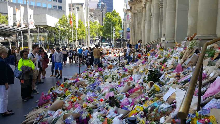 Melbourne, Victoria - Australia- 'Floral tributes at the Bourke Street Mall' photographed by Karen Robinson_www.idoartkarenrobinso.com_2201700120170125 NB: All images are protected by copyright laws