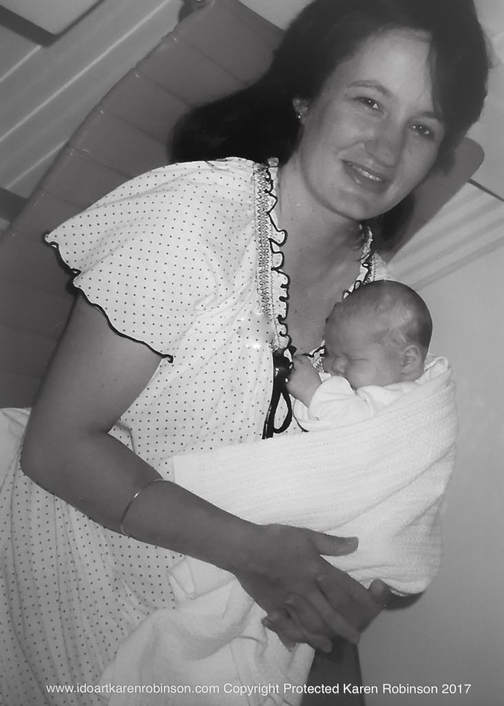 Melbourne, Victoria - Australia Photographed by Karen's husband of Karen holding baby daughter at St Vincent Hospital 1985 Copyright Protected 2017.