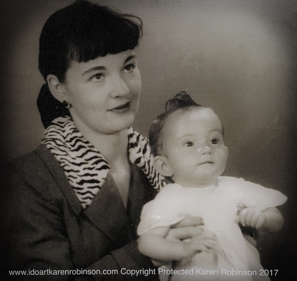 NSW - Australia Photographed by Professional Photography Karen's mother Judy holding Karen as a baby1955. Copyright Protected 2017.