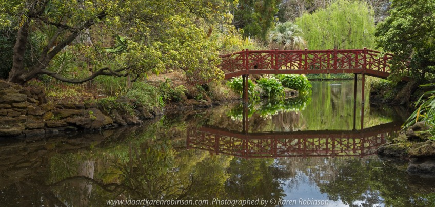 "Elsternwick, Victoria - Australia_Photographed by ©Karen Robinson_ www.idoartkarenrobinson.com September 10, 2017 Comments: My hubby and I with the Craigieburn Camera Club at Rippon Lea House and Gardens. ""It is one of Australia's finest grand suburban estates and the first to achieve National Heritage Listing, recognising its unique significance. The historic mansion is located within a vast pleasure garden of sweeping lawns that cover more than 14 acres and features a windmill, lookout tower, heritage orchard, lake, waterfall, fernery and more!"" Photograph featuring walk-over lake bridge."