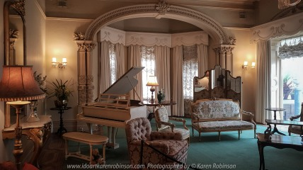 """Elsternwick, Victoria - Australia_Photographed by ©Karen Robinson_ www.idoartkarenrobinson.com September 10, 2017 Comments: My hubby and I with the Craigieburn Camera Club at Rippon Lea House and Gardens. """"It is one of Australia's finest grand suburban estates and the first to achieve National Heritage Listing, recognising its unique significance. The historic mansion is located within a vast pleasure garden of sweeping lawns that cover more than 14 acres and features a windmill, lookout tower, heritage orchard, lake, waterfall, fernery and more!"""" Photograph featuring room within Mansion with doorway to Conservatory."""