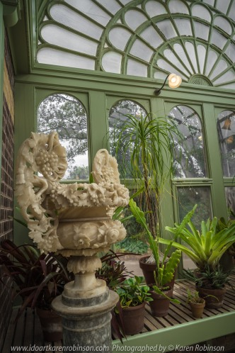 "Elsternwick, Victoria - Australia_Photographed by ©Karen Robinson_ www.idoartkarenrobinson.com September 10, 2017 Comments: My hubby and I with the Craigieburn Camera Club at Rippon Lea House and Gardens. ""It is one of Australia's finest grand suburban estates and the first to achieve National Heritage Listing, recognising its unique significance. The historic mansion is located within a vast pleasure garden of sweeping lawns that cover more than 14 acres and features a windmill, lookout tower, heritage orchard, lake, waterfall, fernery and more!"" Photograph featuring magnificent statue within the Conservatory."