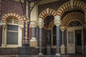 "Elsternwick, Victoria - Australia_Photographed by ©Karen Robinson_ www.idoartkarenrobinson.com September 10, 2017 Comments: My hubby and I with the Craigieburn Camera Club at Rippon Lea House and Gardens. ""It is one of Australia's finest grand suburban estates and the first to achieve National Heritage Listing, recognising its unique significance. The historic mansion is located within a vast pleasure garden of sweeping lawns that cover more than 14 acres and features a windmill, lookout tower, heritage orchard, lake, waterfall, fernery and more!"" Photograph featuring front entrance to Mansion."