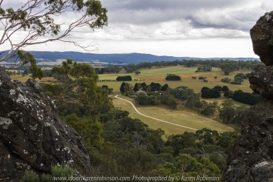 Karen took photos around and on Hanging Rock. Accompanied by her husband on the day. Wonderful rock formations, natural Australian bush, native life and expansive scenic views from the top of Hanging Rock itself.