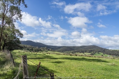 Yan Yean Region, Victoria - Australia_Photographed by ©Karen Robinson_www.idoartkarenrobinson.com 2017 Aug 27 Comments: Chilly Winter's day on Ridge Road looking south across the farming region of Yan Yean near and along Deep Creek.