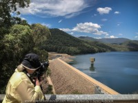 Cheshunt South, Victoria - Australia 'Lake William Hovell' Photographed by Karen Robinson Jan 2018 www.idoartkarenrobinson.com. NB All images are protected by copyright laws. Comments: We arrived here at the picturesque William Hovell Lake during the mid-afternoon on a weekday. There was no-one to be seen on this hot summer's day! The Lake itself is located at the edge of the Alpine National Forest. It is a rock and earth-fill embankment dam with a flip bucket chute spillway across the King River which flows in and out of the dam itself. It supplies water for irrigated crops, vineyards and grazing properties along the King River. Fortunate for us, we had come at a time of the year where the dam was relatively full and at its best. A truly beautiful location that well showcases the lake nettled in amongst mountain bushland which forms part of the Great Dividing Range.