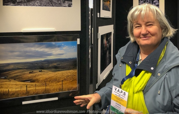Karen Robinson at Warrnambool for the 64th Convention and Inter-Club Exhibition 2018. Karen's landscape rated 12 out of 15 which was the highest rating withing the Craigieburn Camera Club set of Prints submitted at the convention.