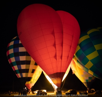 Milawa, Victoria - Australia 'King Valley Balloon Festival Night Glow Event' Photographed by Karen Robinson June 2018 NB: All images are protected by copyright laws. Comments - Part of the Balloon Festival involved an amazing visual sensation which featured 'Night Glow Light Show' at 7pm, located at the Brown Brothers Airfield, where hot-air balloons put on a colourfully light show that was backed dropped against a starry night sky. This spectacular event was witnessed by some 3,000 people!