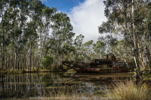 Porcupine Flat, Victoria - Australia 'Dredge and Dragline Historical Site' Photographed by Karen Robinson July 2018 NB. All images are protected by copyright laws. Comments - We stopped at Porcupine Flat site which was once a flourishing area of the Maldon goldfields to view two huge pieces of equipment - dredge and dragline. The dredge allowed for more large-scale mining than was used back in the 1850's. In 1958 dredge operations were developed and shut down in 1984 after moderate success.