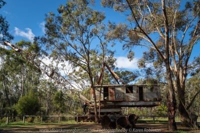 NB. All images are protected by copyright laws. Comments - We stopped at Porcupine Flat site which was once a flourishing area of the Maldon goldfields to view two huge pieces of equipment - dredge and dragline. The dredge allowed for more large-scale mining than was used back in the 1850's. in 1958 dredge operations were developed and shut down in 1984 after moderate success.