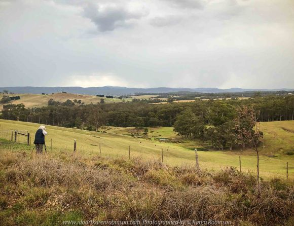 Bruthen, Victoria - Australia 'Wards Road Region' Photographed by Karen Robinson December 2018 Comments - Early morning drive along Wards Road, a back road that winds through beautiful local farming properties. Photograph featuring Karen Robinson taking photographs of region.