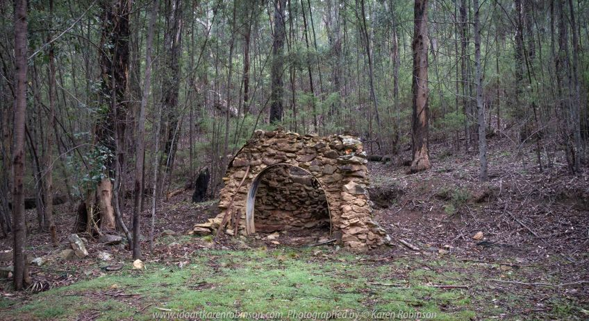 Deptford, Victoria - Australia 'Nicholson River Bush Walk' Photographed by Karen Robinson December 2018 Comments - Hubby, his brother and I took a bush walk alongside of the Nicholson River visiting historic landmarks on our way through Australian bush. Photograph featuring 'Baker's Oven' historical site.