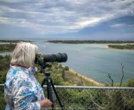 Lakes Entrance, Victoria - Australia 'Shoreline and Harbour Views' Photographed by Karen Robinson January 2019 Comments - On our way to see hubby's brother, we made a slight detour to visit this area. The weather was overcast but still pleasant. It was difficult to photography scenes I wanted and I realised that aerial shots would be best, so we went to a couple of lookouts to help capture some overview shots of Lakes Entrance. Photography featuring Karen Robinson taking photographs.