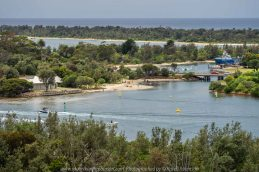 Lakes Entrance, Victoria - Australia 'Shoreline and Harbour Views' Photographed by Karen Robinson January 2019 Comments - On our way to see hubby's brother, we made a slight detour to visit this area. The weather was overcast but still pleasant. It was difficult to photography scenes I wanted and I realised that aerial shots would be best, so we went to a couple of lookouts to help capture some overview shots of Lakes Entrance.