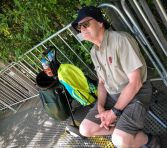 Parkville, Victoria - Australia 'Melbourne Zoo Trip 3' Photographed by Karen Robinson January 2019 Comments - Hubby and I decided to spend another day at the Zoo, this time concentrating on photographing the Sumatran Orang-utans. Photograph featuring Hubby minding the camera equipment