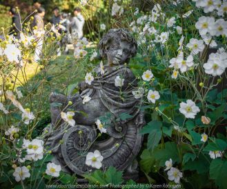 Mount Macedon, Victoria - Australia 'Duneira Heritage Garden' Photographed by Karen Robinson April 2019 Comments - A beautiful Autumn day with hubby at these magnificent gardens where tall trees are the dominating feature. Photograph featuring statue beside Main House stairway.