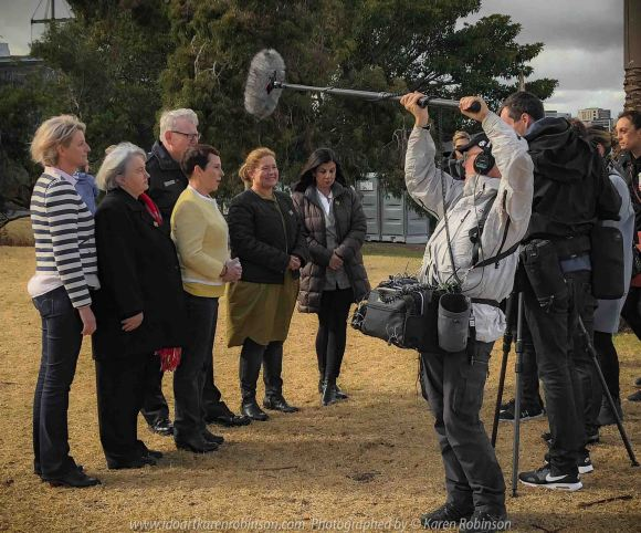 Albert Park, Victoria - Australia 'Shine a Light on Road Safety' Photographs from Karen Robinson May 2019 Comments: Media Interview with Robyn Seymour - VicRoads CEO, Karen Robinson - RTSSV Volunteer Speaker, Hon. Jaala Pulford - Minister for Roads, Road Safety and TAC, Stephen Leane - VicPol Assistant Commissioner for Road Policing, Samantha Cockfield - TAC Lead Director Road Safety and Bernadette Nugent - RTSSV CEO.
