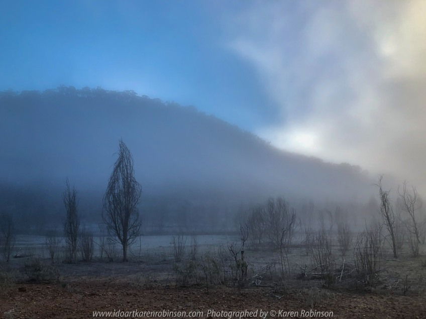 Devils River, Victoria - Australia 'Misty Lake Eildon Region' Photographed by Karen Robinson June 2019 Comments - Misty early morning river bed landscape scenes.