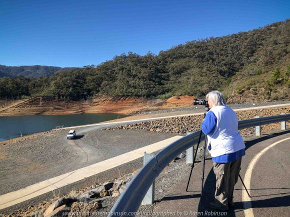 Eildon, Victoria - Australia 'Lake Eildon Region' Photographed by Karen Robinson June 2019 Comments - Views of and from Embankment Road on Eildon Dam Wall.