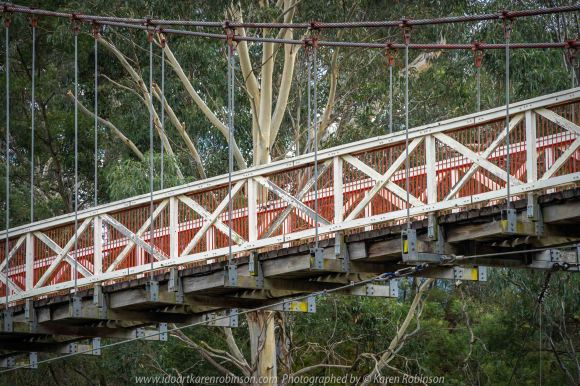 Kew, Victoria - Australia 'Studley Park' Photographed by Karen Robinson June 2019 Comments - Picnic Area at Studley Park. Photograph featuring Kanes Bridge stretching over the Yarra River.