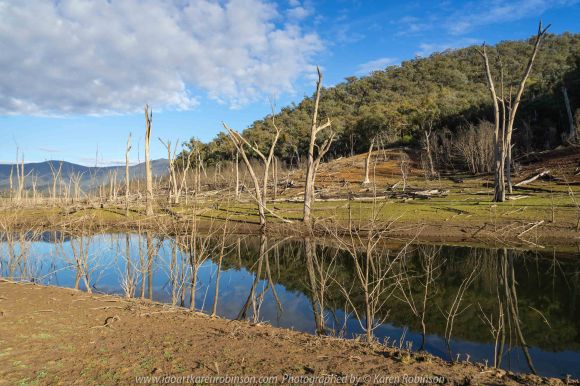 Piries, Victoria - Australia 'Howqua Inlet - Lake Eildon Region' Photographed by Karen Robinson July 2019 Comments - Early morning at Howqua Inlet during the winter as the sun rose over the mountain and down through the inlet itself.