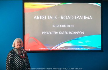 Geelong, Victoria - Australia 'Artist Talk - Road Trauma presented at TAC by Karen Robinson' Photograph from Karen Robinson August 2019 Comments Presented at TAC's head office in Geelong contact Stephanie Wood. Photo/video featuring Karen Robinson Presenting to a group of TAC staff alongside a video conference to TAC's Melbourne office as well.