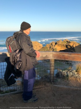 Portsea, Victoria - Australia 'Portsea Back Beach - Peninsula Beach and Ocean Views' Photographed by Karen Robinson August 2019 Comments - Photograph featuring hubby with camera equipment at the London Bridge Lookout.