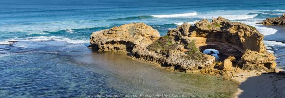 Portsea, Victoria - Australia 'Portsea Back Beach - Peninsula Beach and Ocean Views' Photographed by Karen Robinson August 2019. Comments: Photographs featuring rock pools in front of a large rock formation called 'London Bridge'