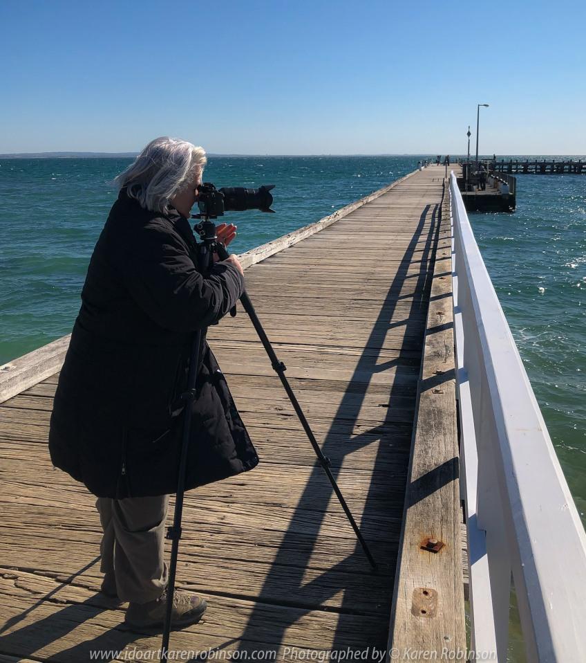 Portsea, Victoria - Australia 'Portsea Front Beach - Peninsula Views' Photographed by Karen Robinson August 2019. Comments: Photograph featuring Karen Robinson taking photographs at the Portsea Pier.