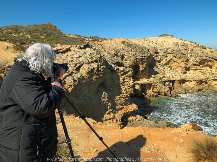 Sorrento, Victoria - Australia 'Jubilee Point on the Peninsula' Photographed by Karen Robinson Comments - Amazing rock formations and panoramic coastline views either side of the point. Karen taking photographs at the point.