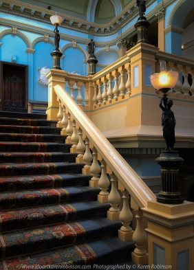 Ballarat, Victoria - Australia 'Stairs Photo Set' Photographed by Karen Robinson September 2019 Comments - During our visit to all the different locations of the Ballarat's 'International Foto Biennal' I decided to take some photographs of stair- wells featured within some of Ballart's historical buildings. We had to climb most of them! Photograph featuring Ballarat Town Hall stairwells.