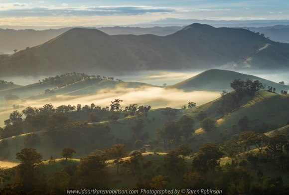 Strath Creek, Victoria - Australia 'Valley of a Thousand Hills' Photographed by Karen Robinson October 2019 Comments: Glorious, misty sunrise over the valley!