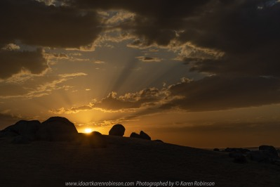 High Camp, Victoria - Australia 'Sunset on Lancefield-Pyanlong Road - Granite Boulder View' Photographed by Karen Robinson December 2019 Comments: Early summer evening taking photographs of the Sunset over huge granite boulders.