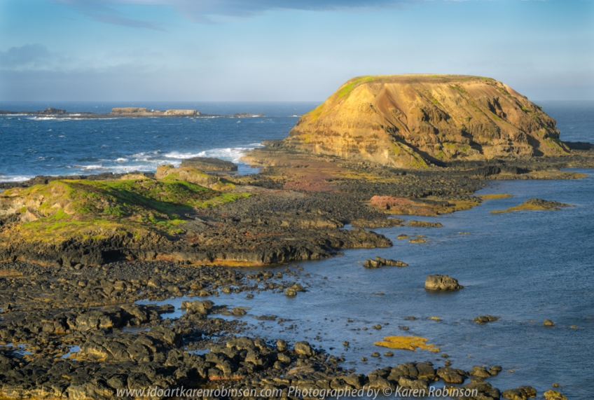 Summerlands, Victoria - Australia 'Sunrise and morning at South Point Lookout' Photographed by Karen Robinson February 2020 Comments - Photograph featuring 'Nobbies Round Island'.