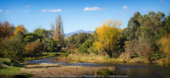 Delatie, Victoria - Australia 'Delatie River' Photographed by Karen Robinson May 2020 Comments: A view from the bridge over Delatie River at Delatie. Trees featuring their autumn colours line each side of the river and far in the distance snow-capped Mount Buller can be seen. A picture-perfect scene!